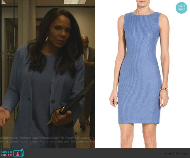 Sarga Knit Bateau Neck Dress by St. John worn by Liz Reddick-Lawrence (Audra McDonald) on The Good Fight