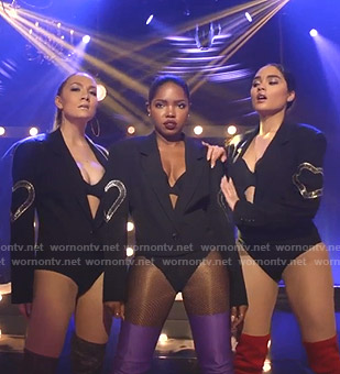 Star, Alex and Simone's black blazer bodysuit on Star
