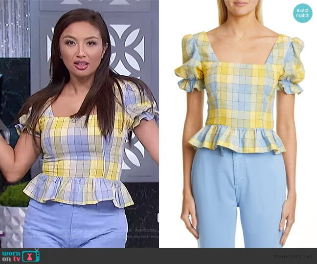 Dock Puff Sleeve Cotton Top by Staud worn by Jeannie Mai  on The Real