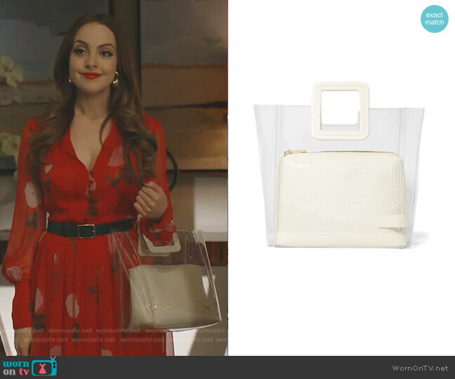 Shirley PVC and Croc-effect Leather Tote by Staud worn by Fallon Carrington (Elizabeth Gillies) on Dynasty