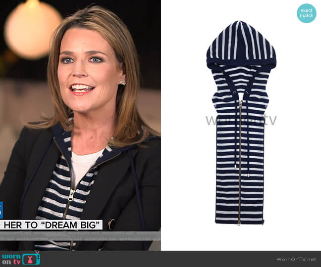 Lurex Stripe Dickey by Veronica Beard worn by Savannah Guthrie (Savannah Guthrie) on Today