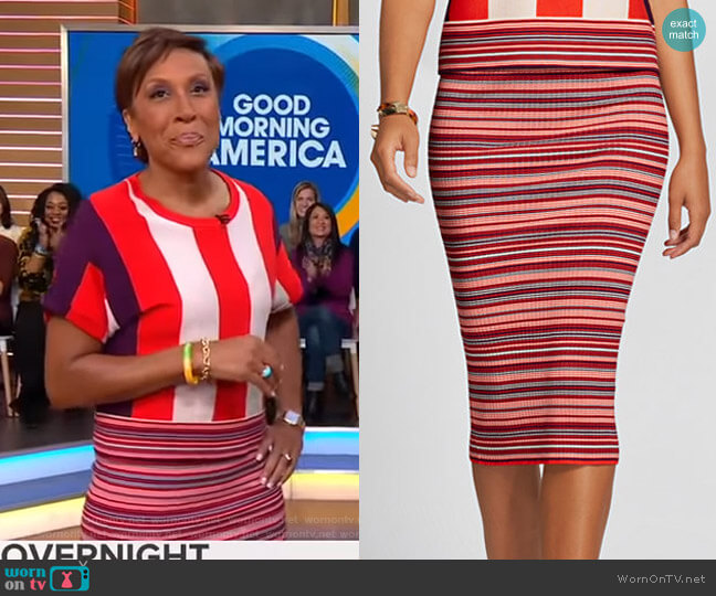 Stripe Sweater Skirt - Gabrielle Union Collection by New York & Company worn by Robin Roberts  on Good Morning America