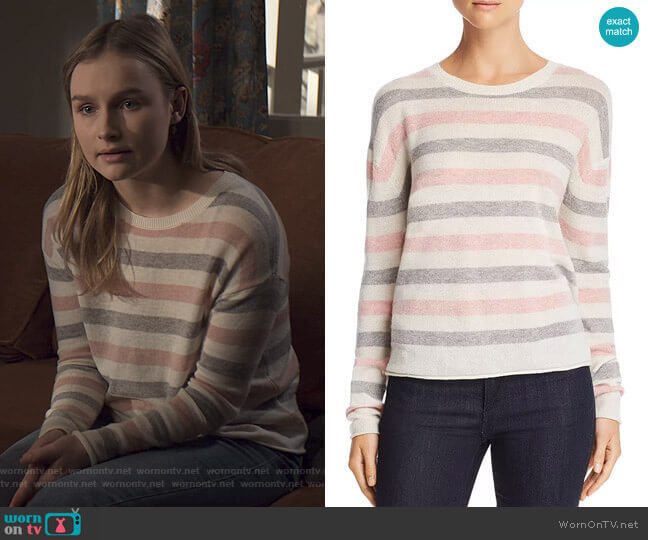 Striped Crewneck Sweater by Velvet by Graham & Spencer  worn by Elle (Olivia DeJone) on The Society