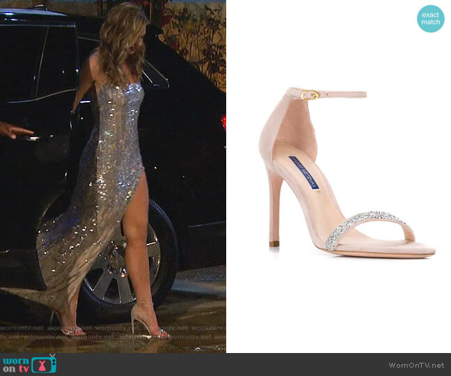 Nudist Song Suede Sandals by Stuart Weitzman worn by Hannah Brown  on The Bachelorette