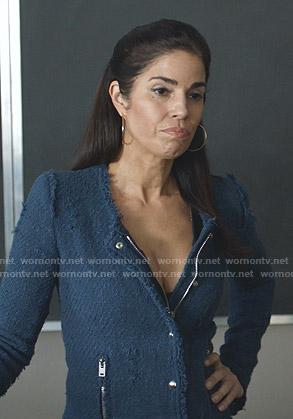 Susan's blue tweed jacket on Whiskey Cavalier