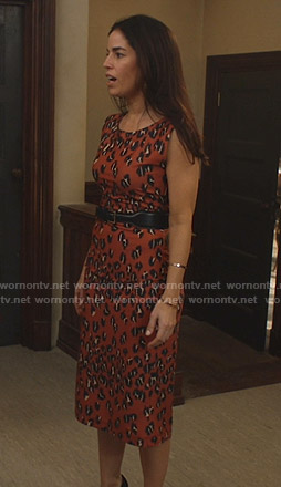 Susan's orange leopard print dress on Whiskey Cavalier