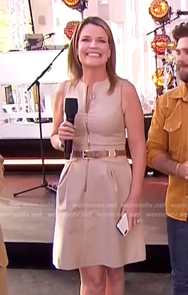 Savannah's beige belted zip front dress on Today