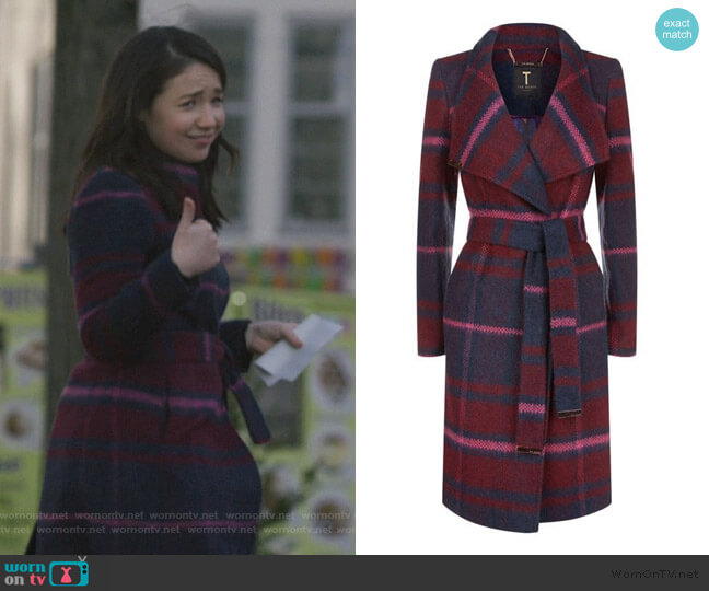 Fredye Check Long Wrap Coat by Ted Baker worn by Marissa Gold (Sarah Steele) on The Good Fight