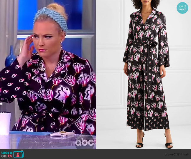 Dragonfly cropped satin jumpsuit by Temperley London worn by Meghan McCain  on The View