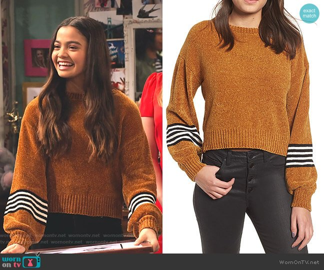 Stripe Sleeve Chenille Sweater by Ten Sixty Sherman worn by Nick (Siena Agudong) on No Good Nick