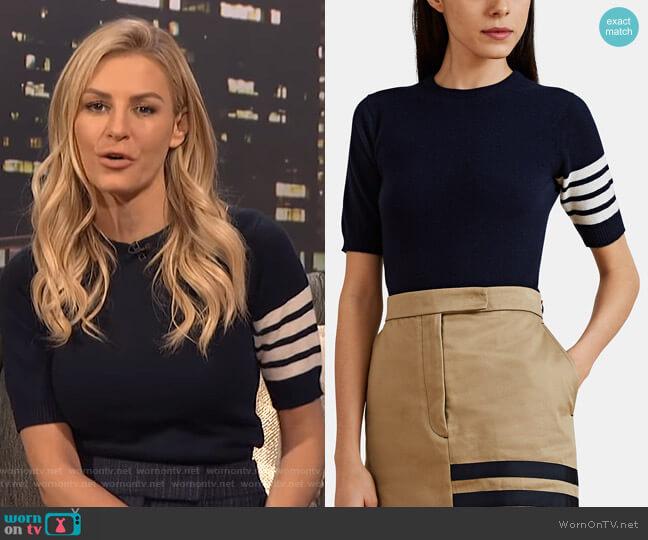 Block-Striped Fine-Gauge Knit Cashmere Sweater by Thom Browne worn by Morgan Stewart (Morgan Stewart) on E! News