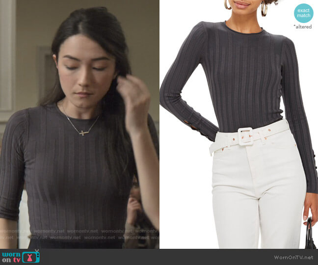 Ribbed Sweater in Charcoal by Topshop worn by Helena (Natasha Liu Bordizzo) on The Society