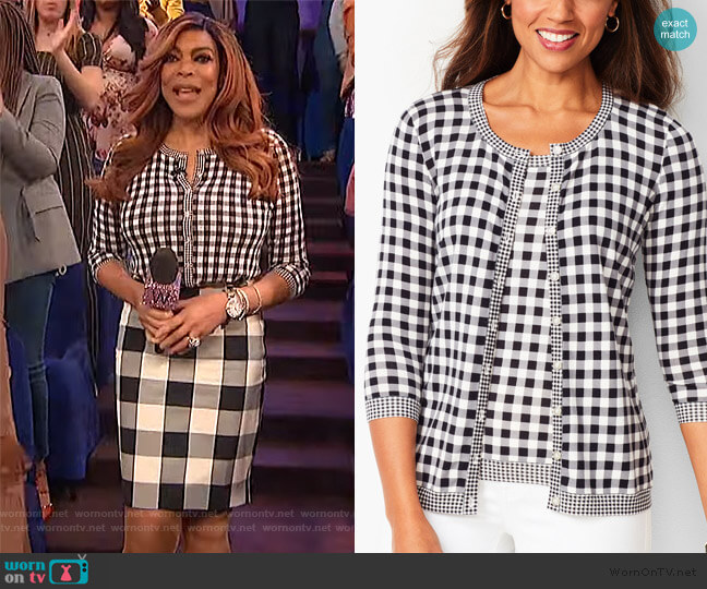 Charming Gingam print blouse by Talbots worn by Wendy Williams  on The Wendy Williams Show