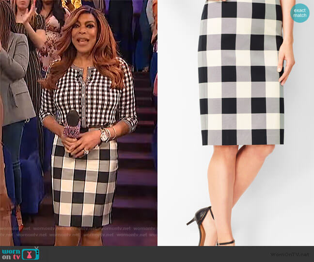 Twill Gingham Pencil Skirt by Talbots worn by Wendy Williams  on The Wendy Williams Show
