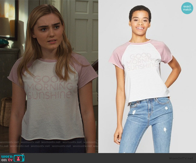 Good Morning Sunshine Graphic T-Shirt by Target worn by Taylor Otto (Meg Donnelly) on American Housewife