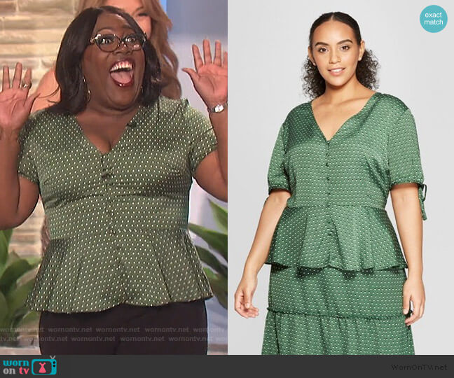 Tie Sleeve V-Neck Button Detail Peplum Top by Target worn by Sheryl Underwood  on The Talk