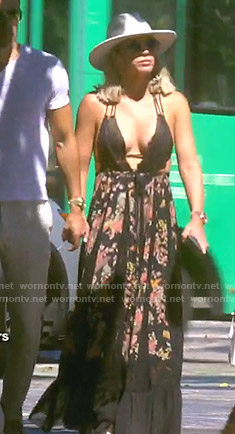 Teddi's black floral maxi dress on The Real Housewives of Beverly Hills