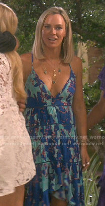 Teddi's blue floral high and low dress on The Real Housewives of Beverly Hills