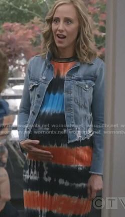 Teddy's denim jacket and tie-dye dress on Grey's Anatomy