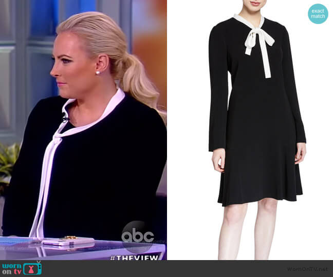 Tie-Neck Crepe Dress with Pearly Trim by Rickie Freeman for Teri Jon worn by Meghan McCain  on The View