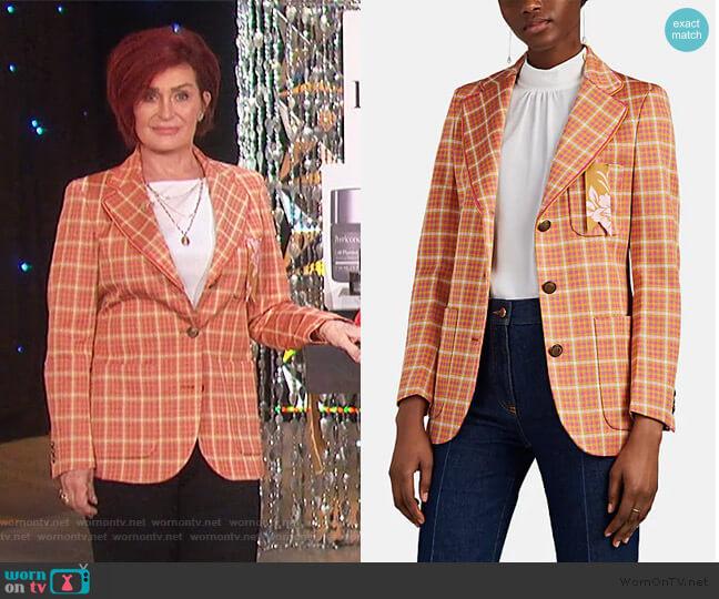Frida Checked Three-Button Blazer by The Gigi worn by Sharon Osbourne  on The Talk