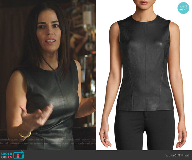 Bristol Leather Modern Seamed C. Combo Shell by Theory worn by Susan Sampson (Ana Ortiz) on Whiskey Cavalier