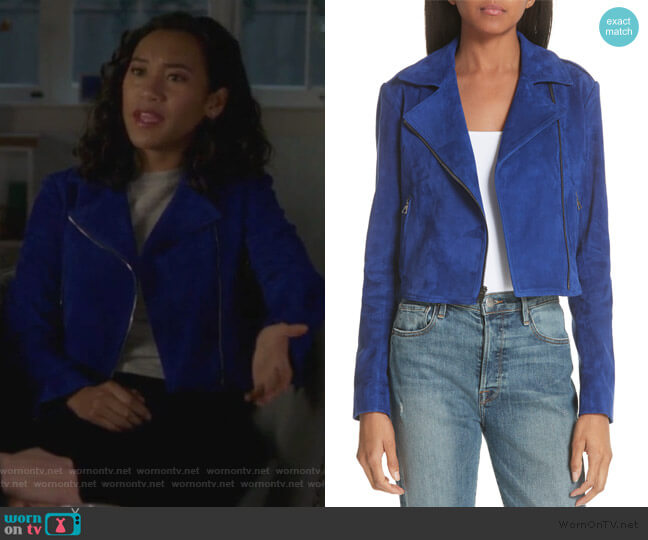 Sanda L Lamb Suede Moto Jacket Theory worn by Caitlin Martell-Lewis (Sydney Park) on PLL The Perfectionists