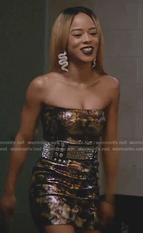 Tiana's metallic strapless mini dress on Empire