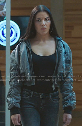 Tina's grey cropped bomber jacket on Whiskey Cavalier