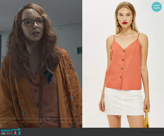 Button Down Cami Top by Topshop worn by Villanelle (Jodie Comer) on Killing Eve