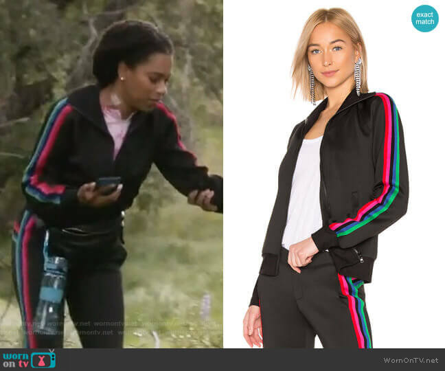 Track Jacket With Rainbow Stripes by Pam and Gela worn by Maggie Pierce (Kelly McCreary) on Greys Anatomy