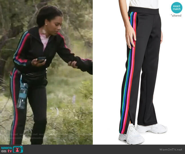Track Pants with Rainbow Stripes by Pam and Gela worn by Maggie Pierce (Kelly McCreary) on Greys Anatomy