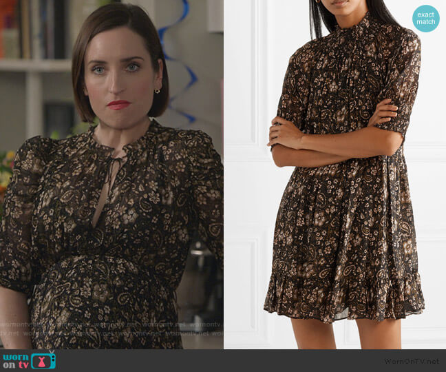 Josie smocked mini dress by Ulla Johnson worn by Jennifer Short (Zoe Lister-Jones) on Life in Pieces