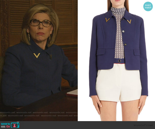 V-Detail Collar Double Crepe Crop Jacket by Valentino worn by Diane Lockhart (Christine Baranski) on The Good Fight