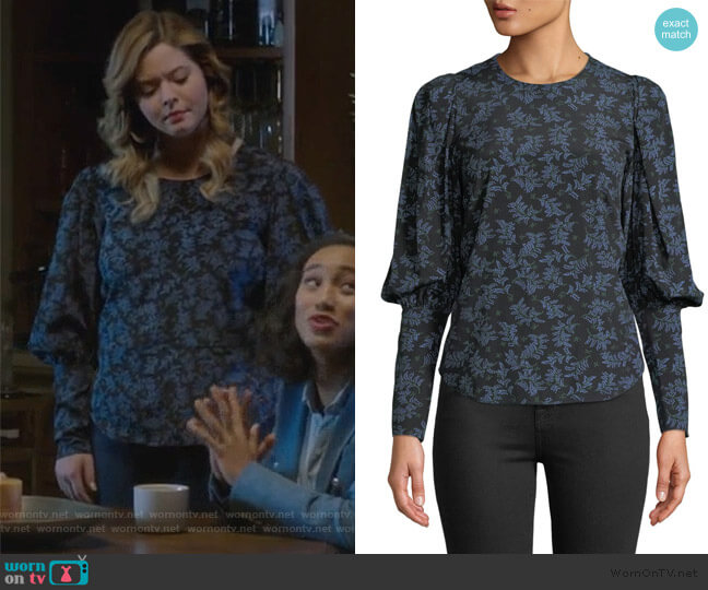 Clarke Top by Veronica Beard worn by Alison DiLaurentis (Sasha Pieterse) on PLL The Perfectionists
