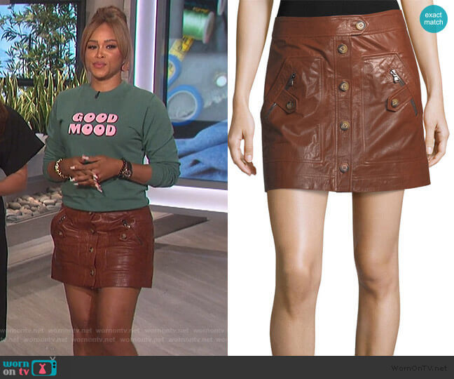 Monroe A-Line Cargo Leather Skirt by Veronica Beard worn by Eve  on The Talk