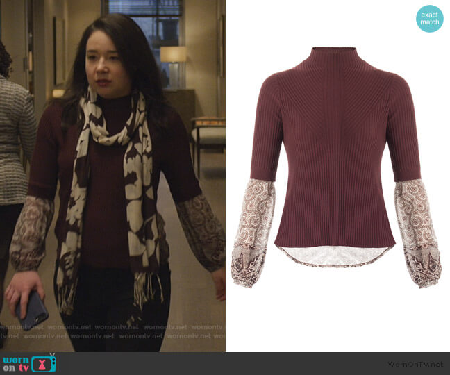 Moon Ribbed Mixed media Sweater by Veronica Beard worn by Marissa Gold (Sarah Steele) on The Good Fight