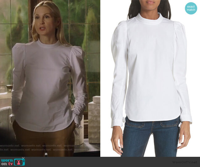 Isabel Puff Sleeve Shirt by Veronica Beard worn by Clair Hotchkiss (Kelly Rutherford) on PLL The Perfectionists