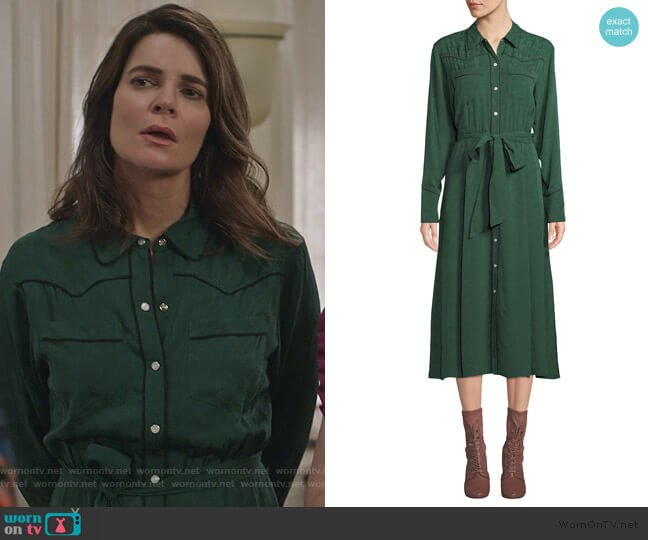 Spur Silk Jacquard Long-Sleeve Shirtdress by Veronica Beard worn by Heather Hughes (Betsy Brandt) on Life in Pieces