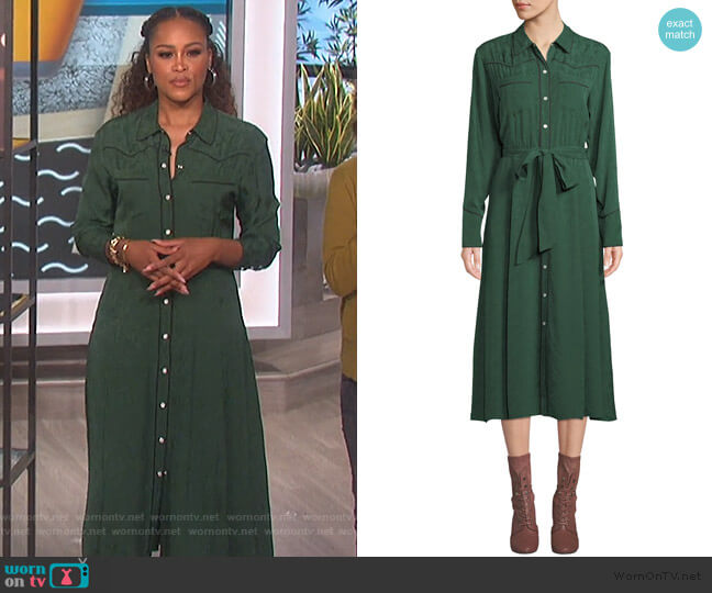 Spur Silk Jacquard Shirtdress by Veronica Beard worn by Eve  on The Talk