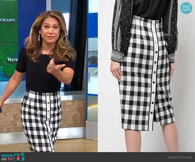 Gingham Midi Skirt by Veronica Beard worn by Ginger Zee  on Good Morning America