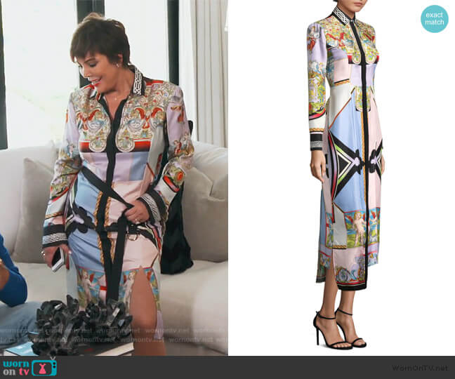 Printed Silk Shirtdress by Versace worn by Kris Jenner  on Keeping Up with the Kardashians
