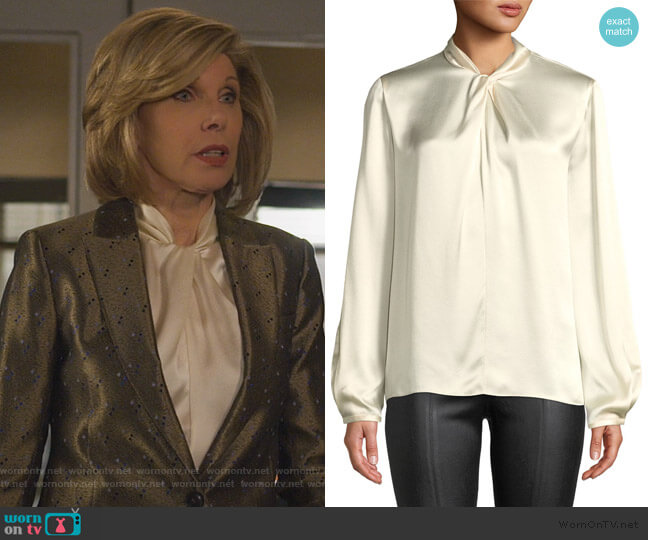 Knotted High-Neck Log-Sleeve Silk Blouse by Vince worn by Diane Lockhart (Christine Baranski) on The Good Fight