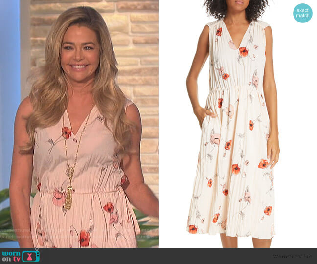 Tossed Poppy Pleated Midi Dress by Vince worn by Denise Richard on The Talk