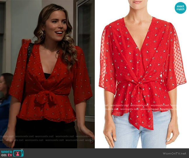 WAYF Amora Tie-Front Floral Print Top worn by Sasha Gilmore (Sofia Mattsson) on General Hospital