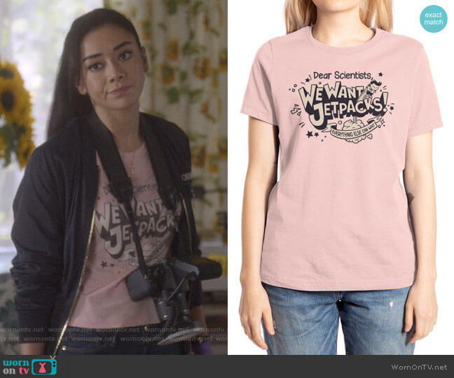 We Want Jetpacks Tee by Pawel Kania at Threadless worn by Ella Lopez (Aimee Garcia) on Lucifer
