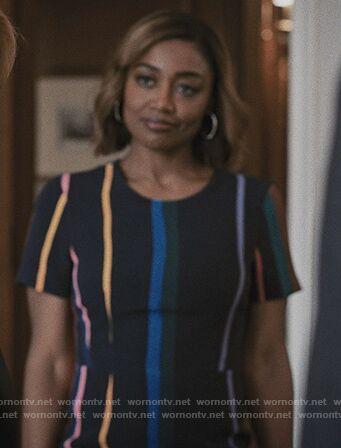 Daisy's navy striped dress on Madam Secretary