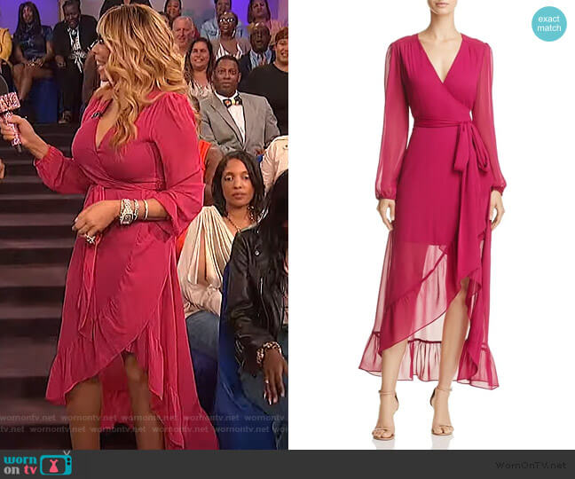 Magenta long sleeve wrap dress by Wayf worn by Wendy Williams  on The Wendy Williams Show