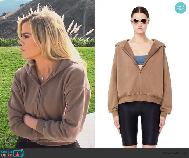 Trench Cropped Zip Hoodie by Yeezy worn by Khloe Kardashian (Khloe Kardashian) on Keeping Up with the Kardashians