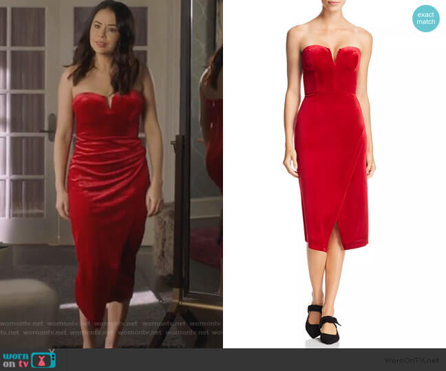 Allure Strapless Velvet Dress by Yumi Kim worn by Mona Vanderwaal (Janel Parrish) on PLL The Perfectionists